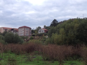 The view from the south side of the Ibar River in Mitrovica, looking north