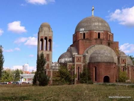 Hollowed-out Serbian Orthodox Church on grounds of Univ. of Pristina