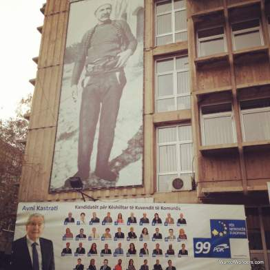 PDK banner in center of Mitrovica