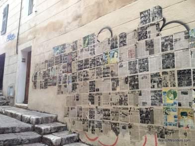 Creative wall art in the Panier area