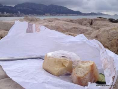 French picnic at Plage du Prado
