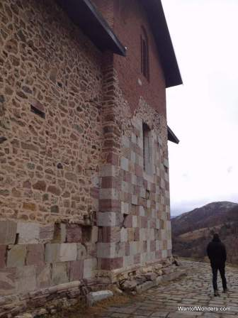 The outside of the main cathedral of Banjska Monastery. The checkerboard blocks are the original 14th century portion.